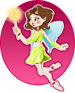 graphic art of a fairy figure dressed in green