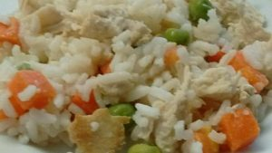 image of cooked rice, chicken and vegetable meal