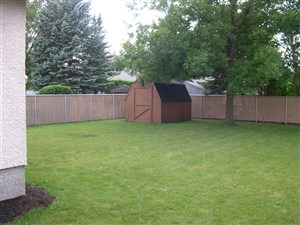 backyard chain link fencing with vinyl weave