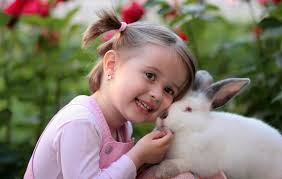 little girl cheek to cheek with white rabbit