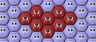 purple faces with red faces in the center representing cancer cells