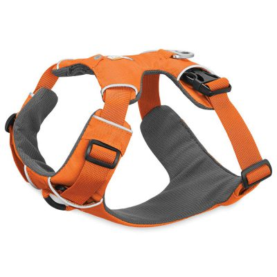 orange and grey Ruffwear front range dog harness