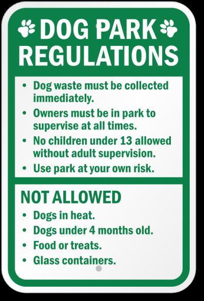 Dog park regulation sign