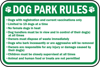 Dog Park rules sign