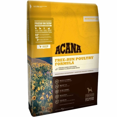 Bag of Acana dog food in Free Run Poultry formula