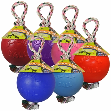 set of 6 Jolly Balls for dogs with rope handles