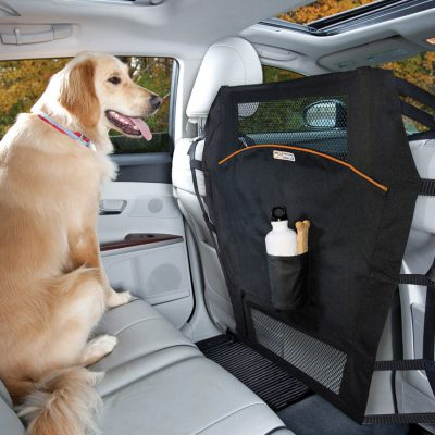 Golden Retriever dog sitting on bench seat with the Kurgo backseat barrier in front of dog