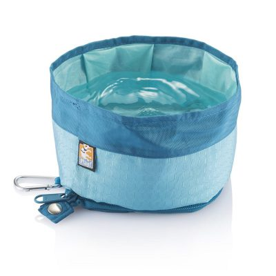 Kurgo blue zip up travel dog bowl