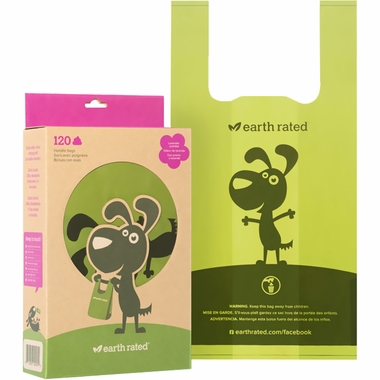 Green dog poop disposal bags with handles by Earth Rated