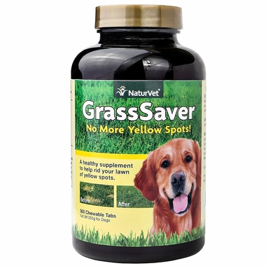 GrassSaver supplement for dogs to prevent yellow spots on lawns