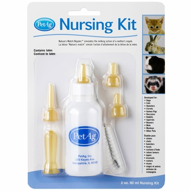 Small animal nursing kit with bottle, 5 nipples and bottle brush