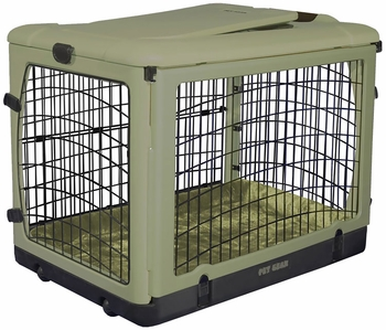Four door steel and plastic crate by The Pet Gear