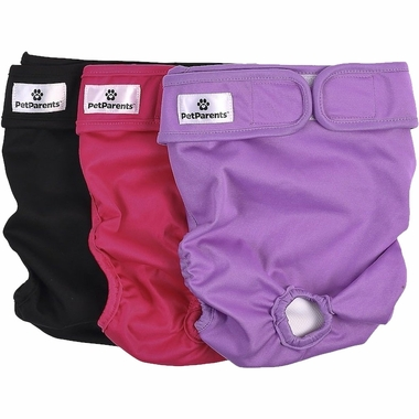 Three washable dog diapers in black, pink and purple by Pet Parents
