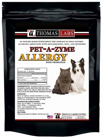 package of pet enzymes powder for dog and cat allergies