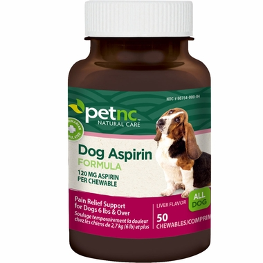 Bottle of PetNC dog aspirin formula