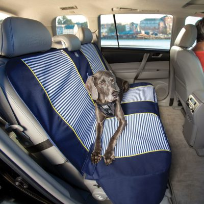 Kurgo seat cover for dogs with a weimaraner dog sitting on it