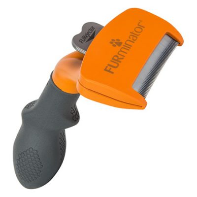 Orange and grey Furminator deshedding tool